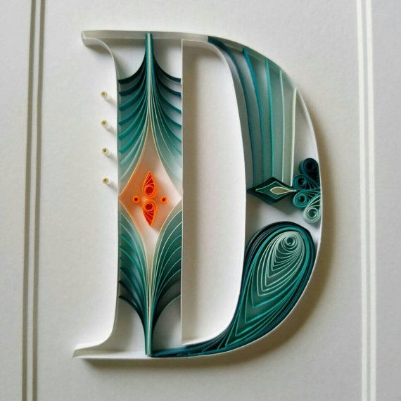 Custom Paper Quilled Monogram Letter Framed by NorthStarPapercraft