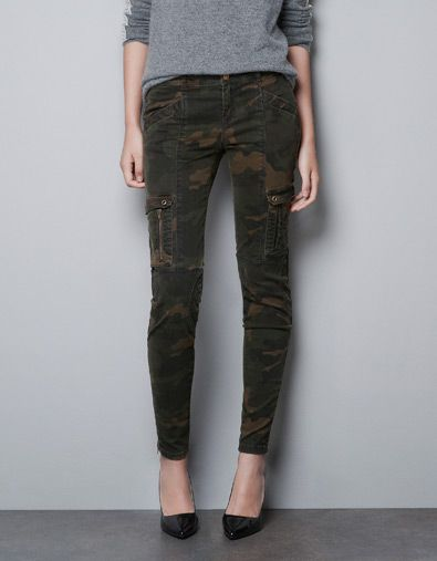 CAMOUFLAGE CARGO TROUSERS - Trousers - TRF - ZARA United States