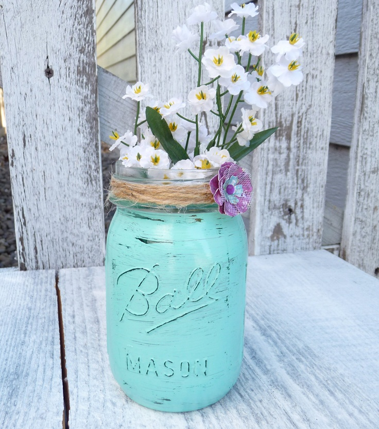 Teal Mason Jars I D Replace Those Flowers With Much
