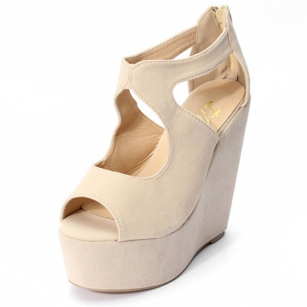 Fashion Sexy Womens Peep Toe Ladies Evening Party Platform Wedge High Heel Zip U - US$26.89 sold out