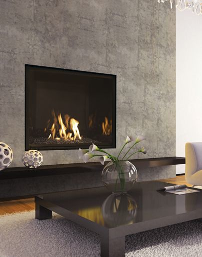 "Mendota FullView Modern 41"" gas fireplace. $2992 Builder price. Mid level interior."