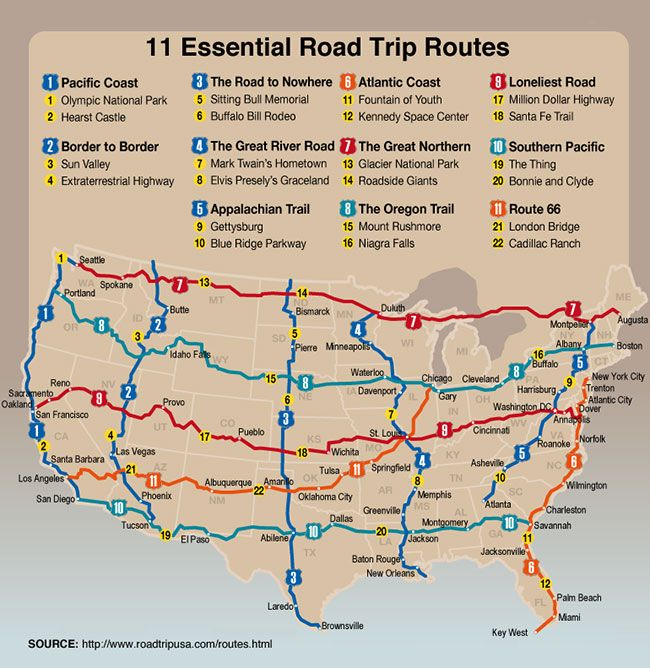 11 Essential Road Trip Routes Graphic via ROAD TRIP USA The