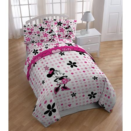 Minnie Mouse Falling Dots Full size 5 piece Bed in a Bag