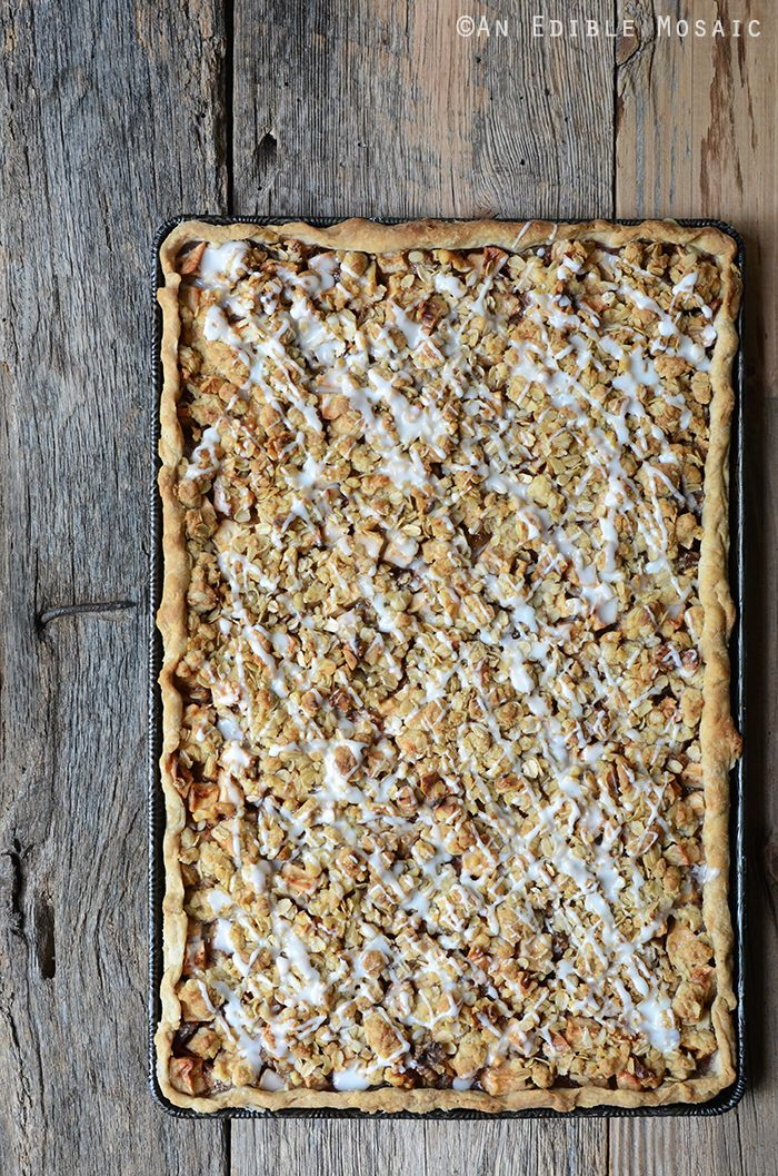 Apple Slab Pie with Nutty Oat Crumble Topping Recipe #dessert