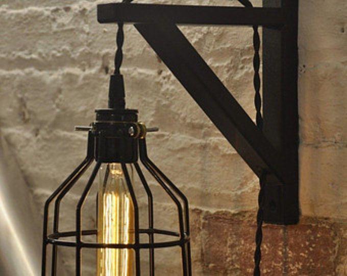 Lamp Guard muur schans kooi licht Lamp industriële Retro Vintage massief hout