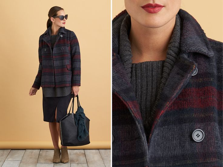 Love the structured silhouettes, muted plaid, and edgy detail on the bag.