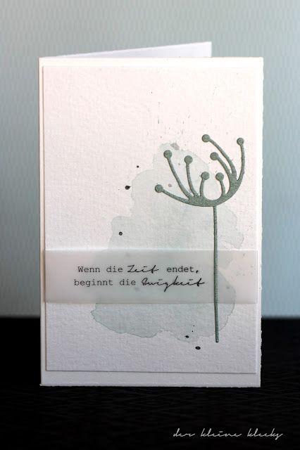 der kleine klecks Trauer No. 1 Trauerkarte Aquarell Stanzform moderne Blume Charlie & Paulchen wenn die Zeit endet beginnt die Ewigkeit