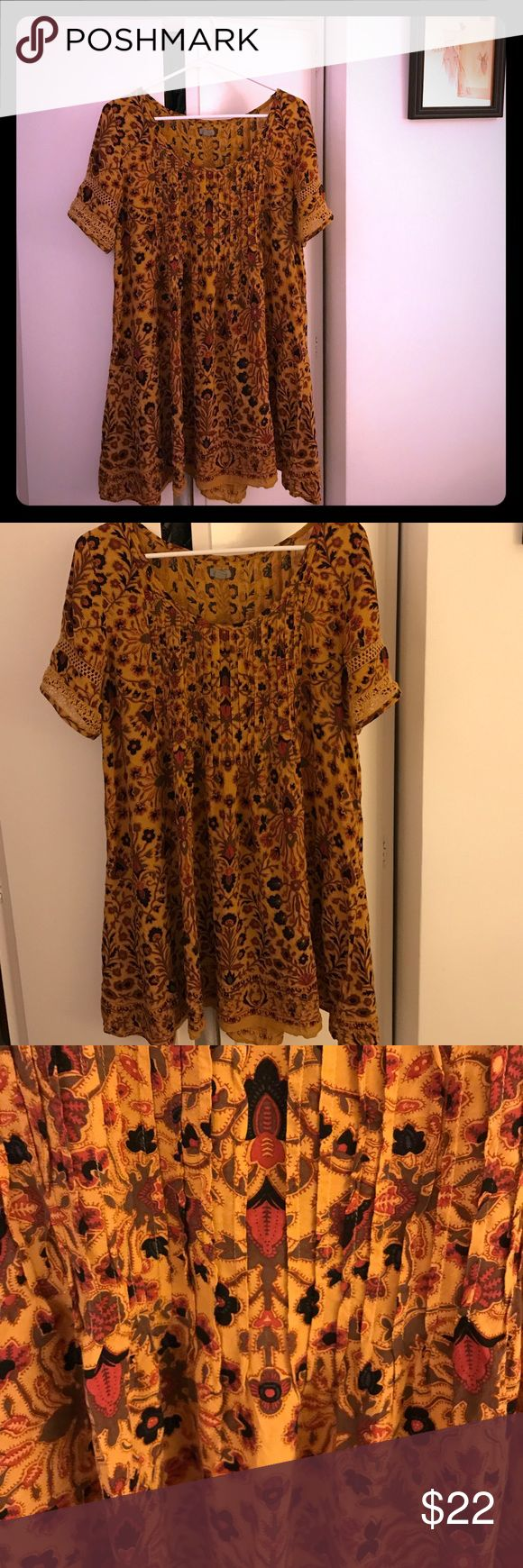Ecote mustard color dress ❤️ size M Ecote mustard, black, maroon, and olive colored dress, lace at the sleeves, beautiful print, size Medium ❤️ Ecote Dresses Mini