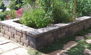 Raised Vegetable Bed/Seating Wall made from Country Manor Keystone