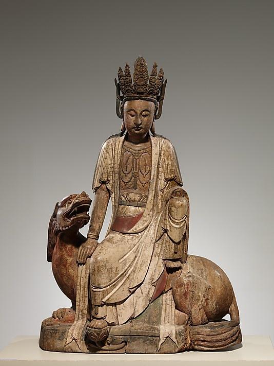 Bodhisattva Avalokiteshvara of the Lion's Roar, or Simhanada Avalokiteshvara (Shi Hou Guanyin)    Period:      Qing dynasty (1644–1911)  Date:      19th–20th century  Culture:      China  Medium:      Wood (willow) with traces of pigment, single-woodblock construction