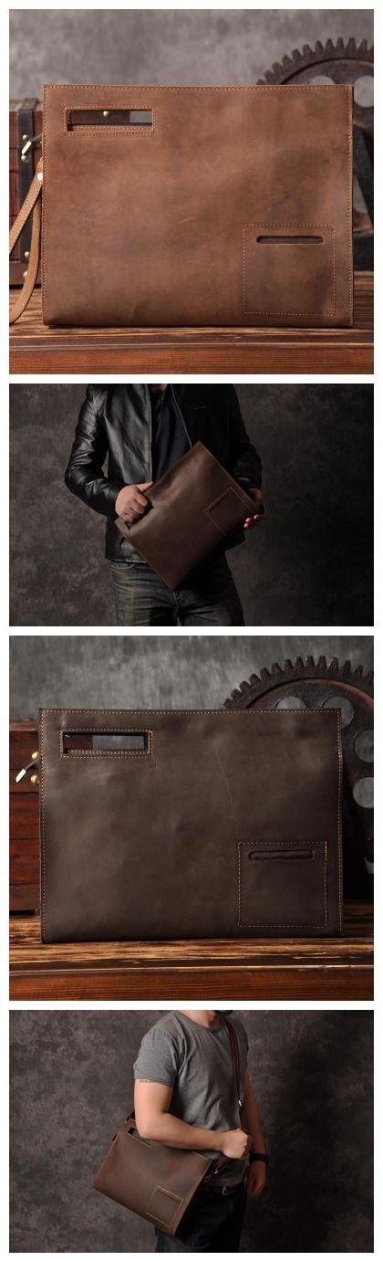 Vintage Style Leather Men Clutch iPad Case Messenger Bag Handbag 14141