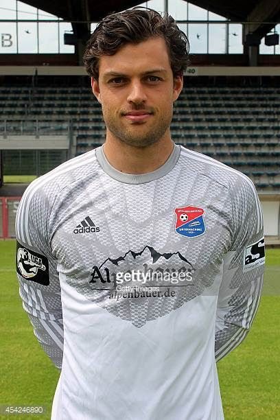 Stefan Marinovic poses during the team presentation of SpVgg Unterhaching at Alpenbauer Sportpark on July 24 2014 in Unterhaching Germany
