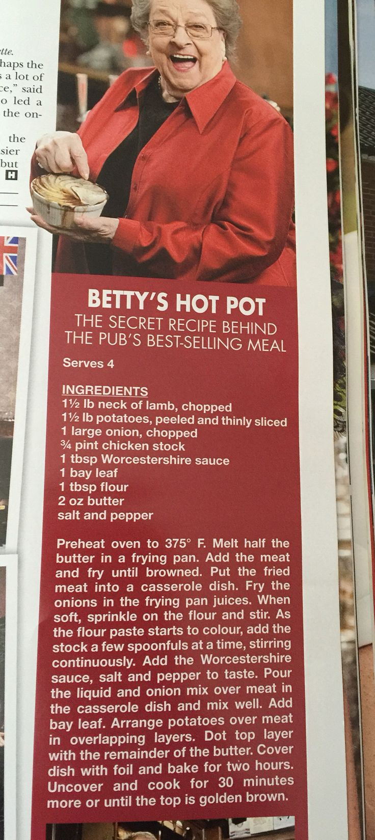 Coronation Street, Betty's hot pot recipe