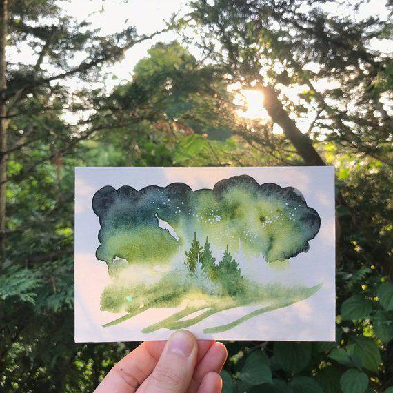 Illustration Originale A Laquarelle Paysage De Foret Et Ciel