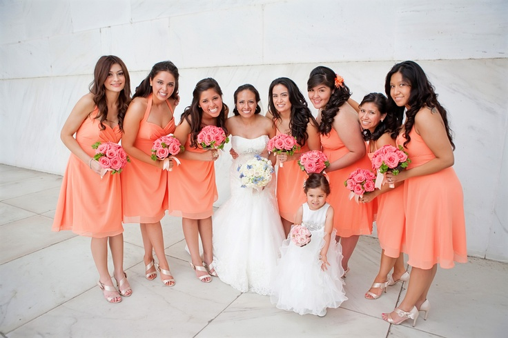 """""""Tangelo"""" tangerine bridesmaids dresses from Andrea & Patrick's Classic, Vintage inspired Maryland wedding. Images by Heather Bee Photo."""