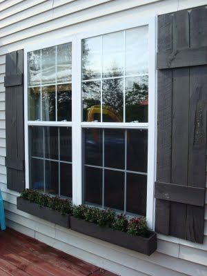 DIY Shutters and Window Box instructions.  Jimmy would have a stroke at the thought of drilling holes into the siding though LOL!
