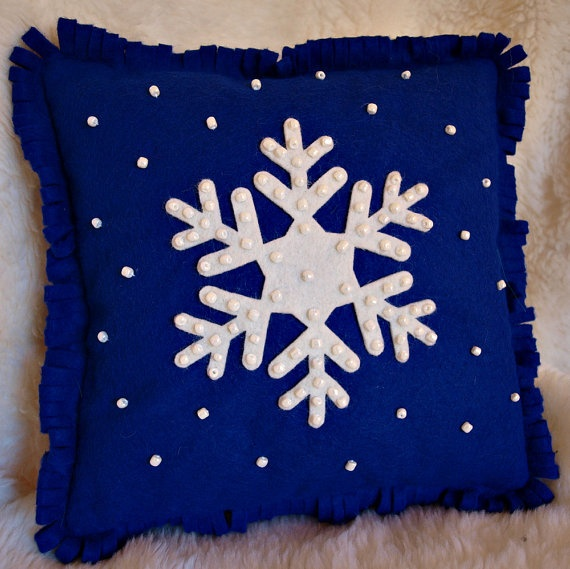 Snowflake Holiday Pillow Made From Wool Felt by NancysWorkshop