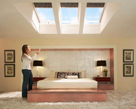 VELUX remote control windows and blinds - enjoy the night sky and your lie ins.