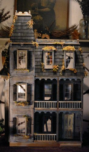 """1"""" scaled Victorian Gothic Dollhouse.  Extraordinary. (Make excellent haunted house!)"""