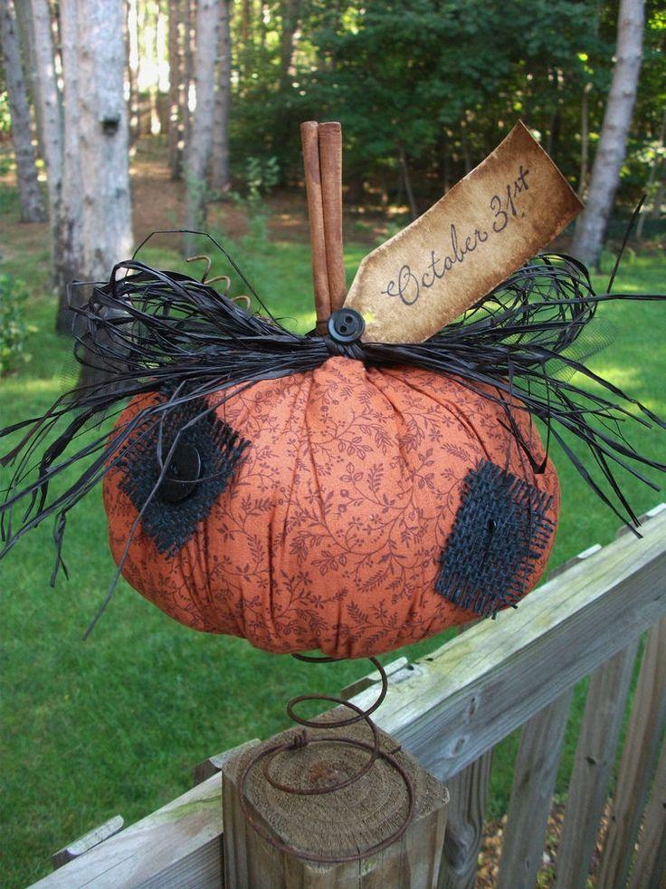 Folk Art PrimiTive HALLOWEEN Fall PUMPKIN Patch Orange Black Prim Decoration Tag #NaivePrimitive #melissaharmon