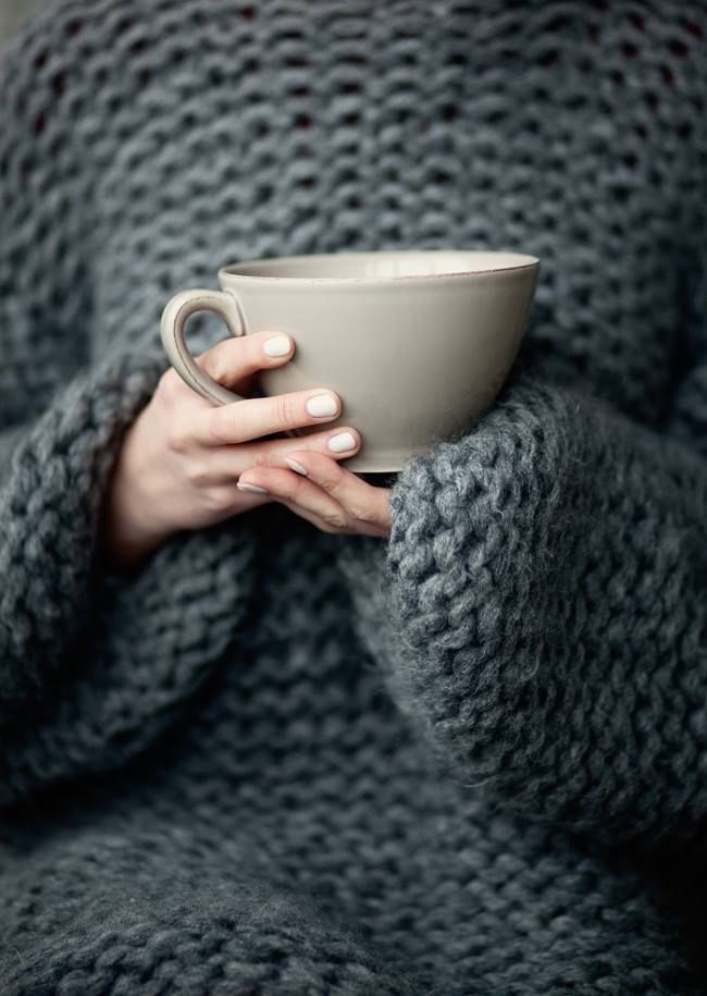 | September | Cozy charcoal knits on chilly mornings . . .