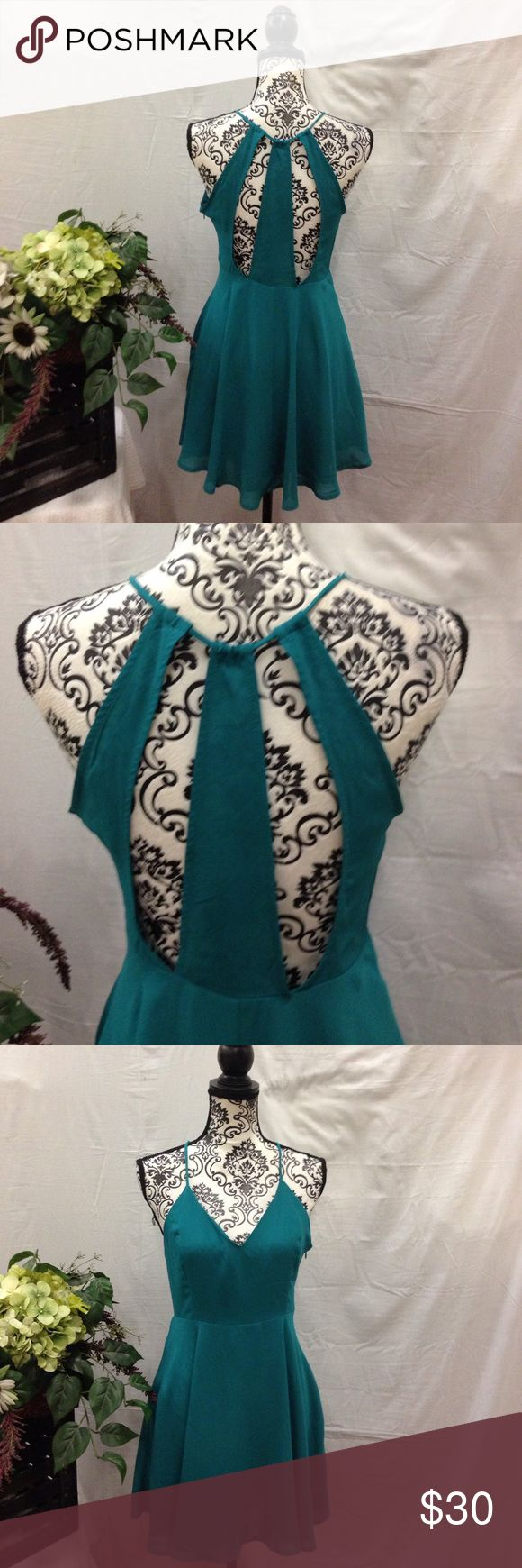 NWT Emerald Cutout Back Skater Dress Size medium. New with tags. Lined. Cutout back. Emerald green. Zip up side. V cut. Skater dress. No flaws. Free gift. Dresses Mini