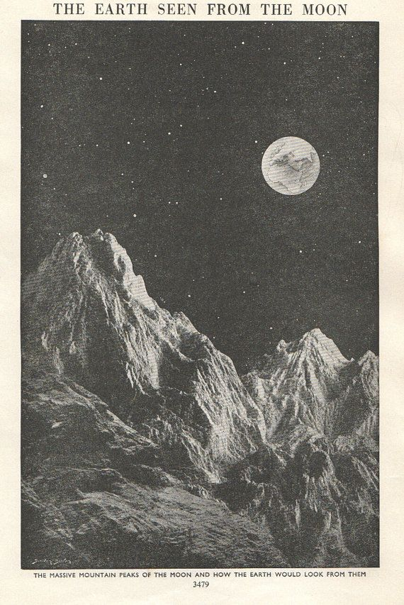 Vintage astronomy print view of Earth from moon, from a 1950's encyclopedia.