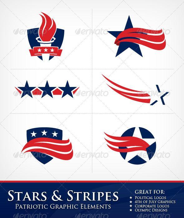 Stars and Stripes Graphic Elements - Decorative Symbols Decorative $5