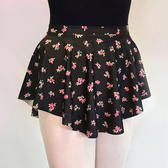 Dance skirt Black Tiny Floral Print SAB Ballet Skirt  by RoyallDancewear