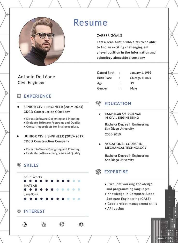 Instantly download free civil engineer resume template