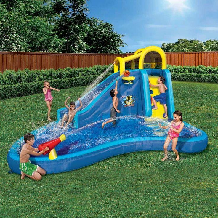 Banzai Inflatable Big Blast Splash Slide Lagoon Pool Water