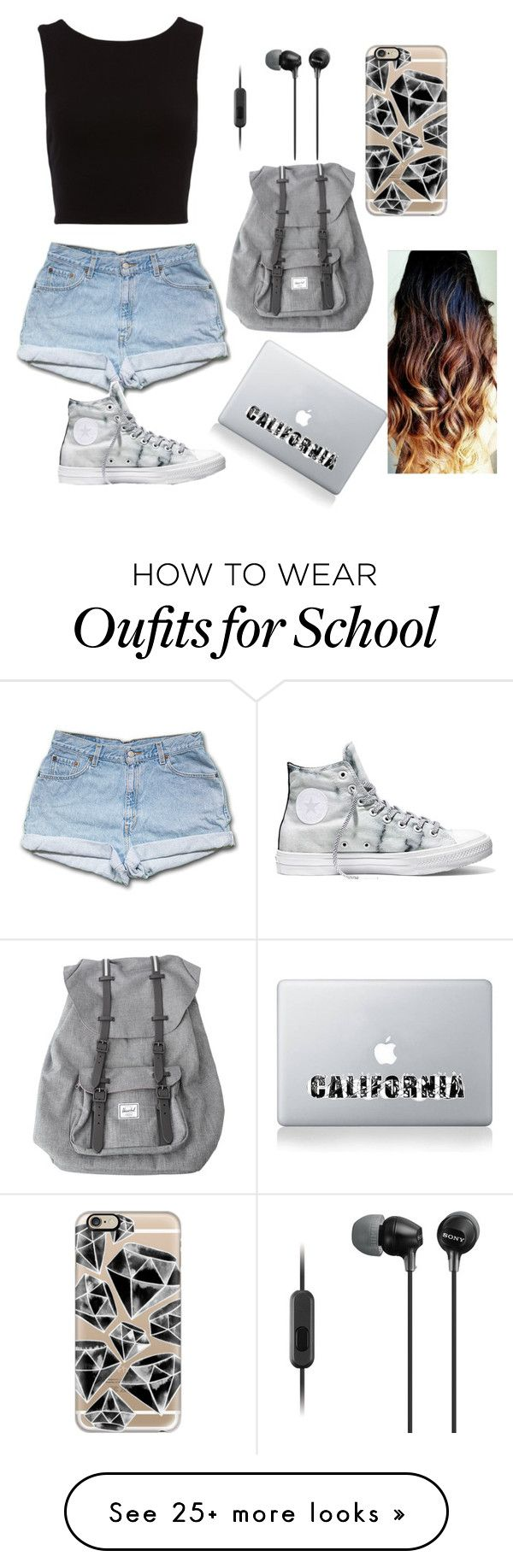 """""""School- First day"""" by mollygodde on Polyvore featuring Herschel, Casetify, Vinyl Revolution, Sony and Converse"""