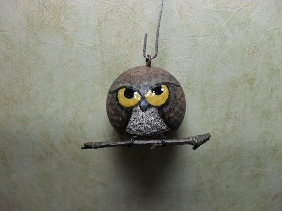 Hand Painted Upcycled Golf Ball Owl Ornament by Suzyscreations2