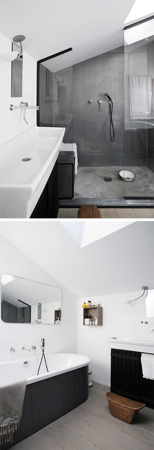 concrete + matte black + white + wooden floors