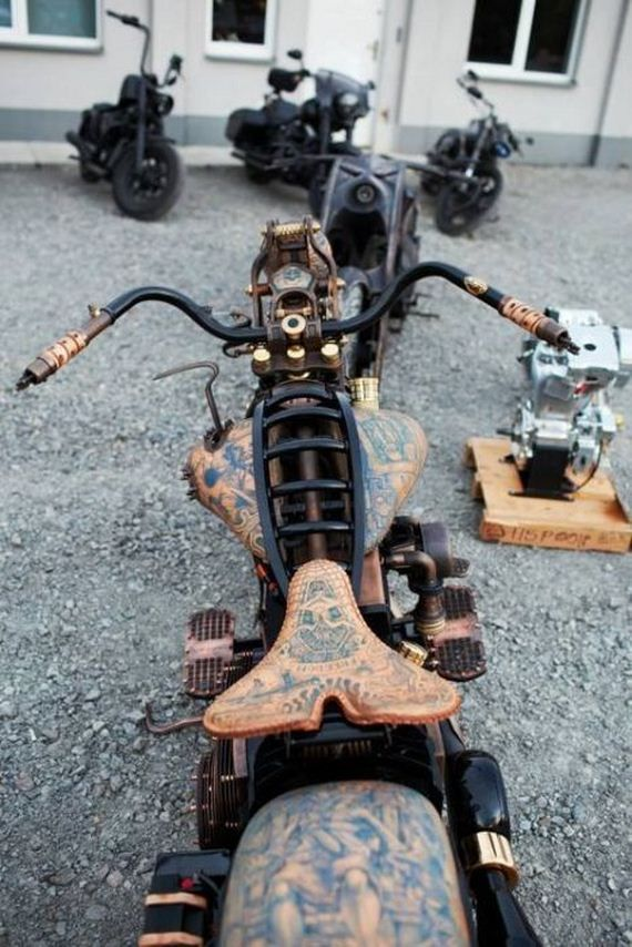 Awesome: Motorbike with real tattoos