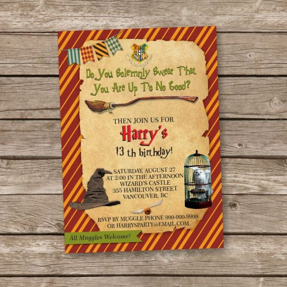 Harry Potter Printable Digital Invitation. All text can be customized.  You can choose the invitations size from the drop-down menu: 4 x 6 or 5 x 7 inches.  Dont forget to thank your friends! Buy a matching thank you card (4 x 6 inches) with the invite now.  *TURN AROUND TIME* - The proofs 1-2 days - The final files 1-2 days after approval.  YOU WILL RECEIVE: • 1 proof with the customized text • 1 JPG file of the ready invitation so you can print it however you want • 1 PDF of a 8.5 x 11…