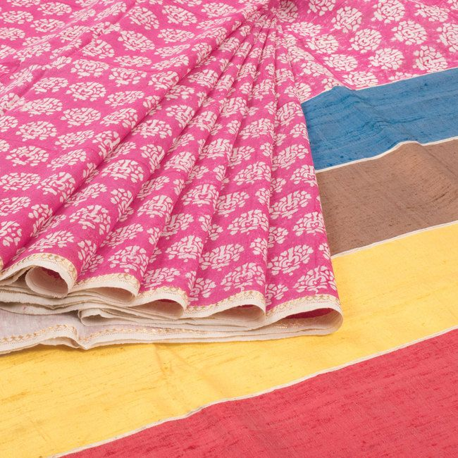 Khoj Hand Block Printed Maheshwari Tussar Linen Saree With Floral Motifs & Rangkaat Pallu 10007308 - profile - AVISHYA.COM