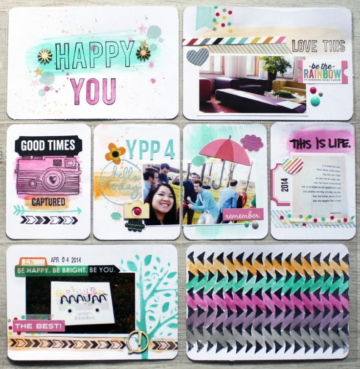 Watercolored Project Life layout with Stampin Up spring stamps