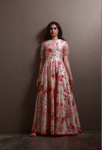 floor length anarkali, floral print gown, elbow length sleeve, mehendi gown, cocktail gown, brides best friend, silk gown, summer spring outfit