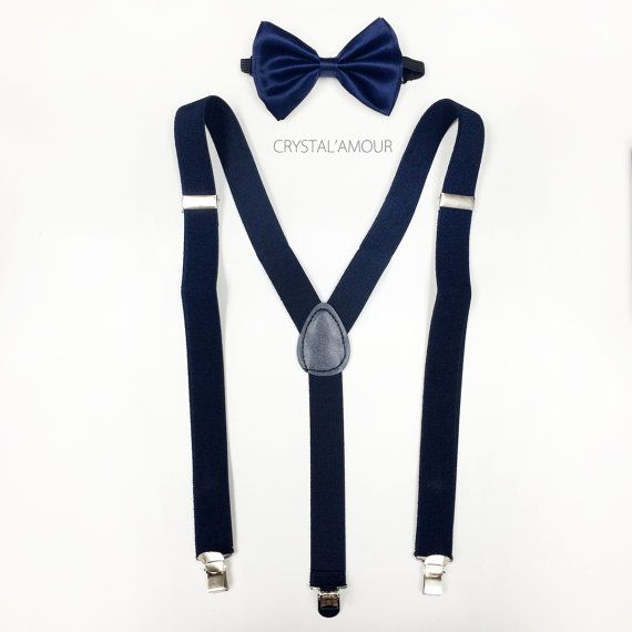 Men's navy blue suspenders and bowtie  dark blue by crystalAmour
