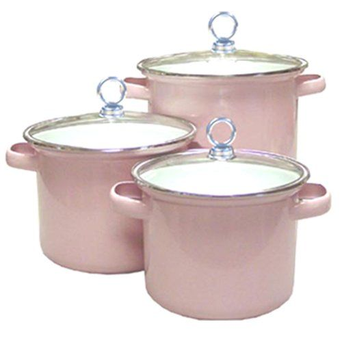 Calypso Basics -Piece Stockpot Set with Glass Lids, Pink #pink