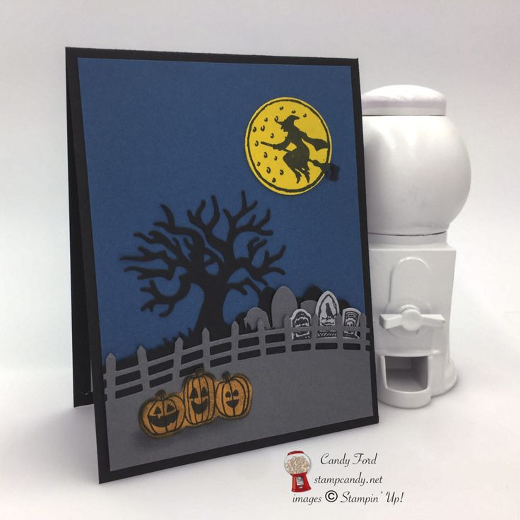 Click through to stampcandy.net for details! Stampin' Up!, Spooky Fun, Halloween Scenes Edgelits Dies, Basic Black, Basic Gray, SMoky Slate, Dapper Denim, Crushed Curry, Sponge Daubers Witch, Moon, Tree