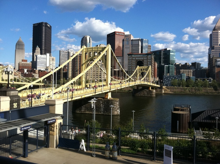 Near PNC Park in Pittsburgh, taken July  2011. This picture is of the Roberto Clemente Bridge.