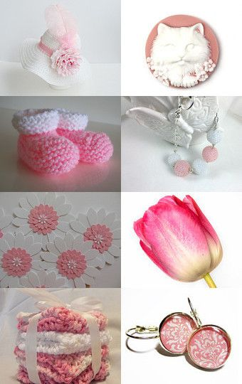 Pink and White by Amanda on Etsy--Pinned with TreasuryPin.com