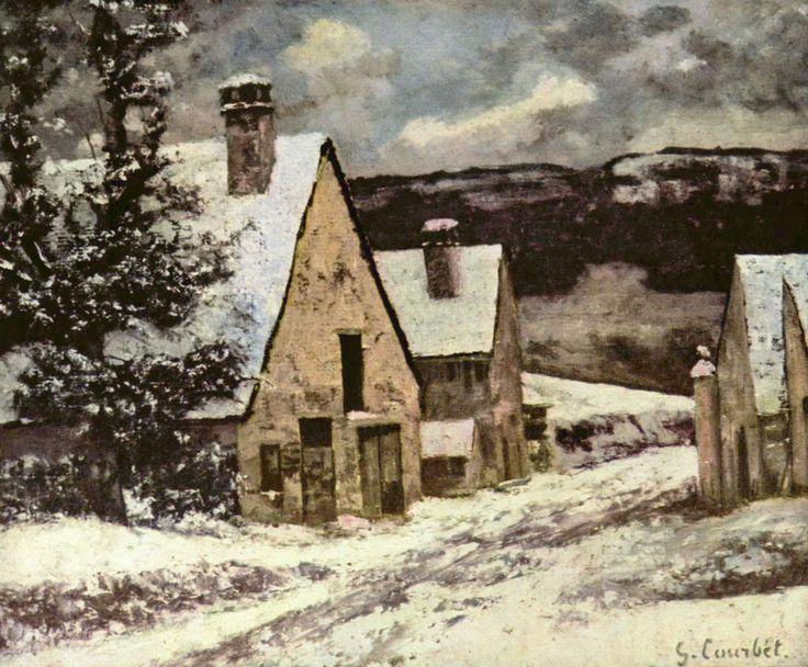Village Street in Winter - Gustave Courbet