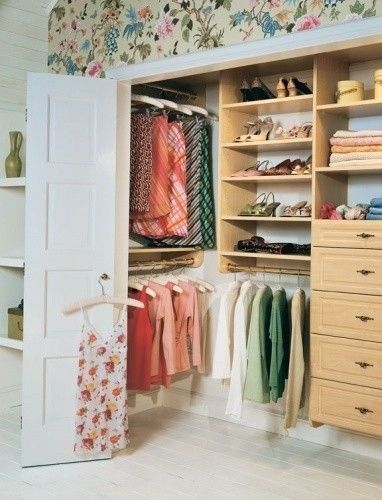 reach-in closet. I love how the recessed space on the left side is utilized. Learn more: http://www.closetfactory.com/custom-closets/