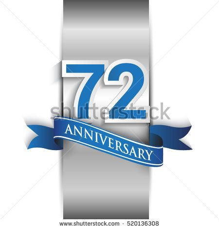 72nd anniversary logo with silver label and blue ribbon, Vector design template elements for your birthday party.