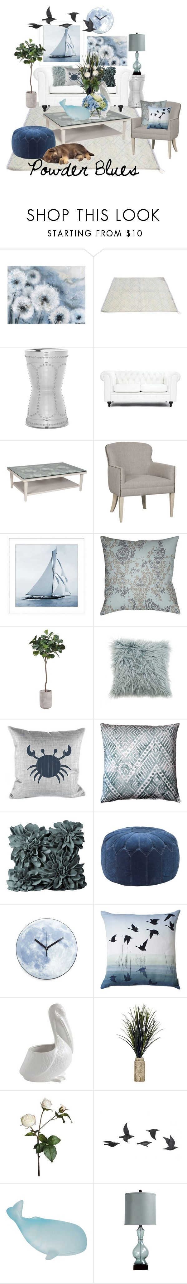 """""""Powder Blues"""" by mia-christine ❤ liked on Polyvore featuring interior, interiors, interior design, home, home decor, interior decorating, Safavieh, Pottery Barn, Décor 140 and Pillow Decor"""