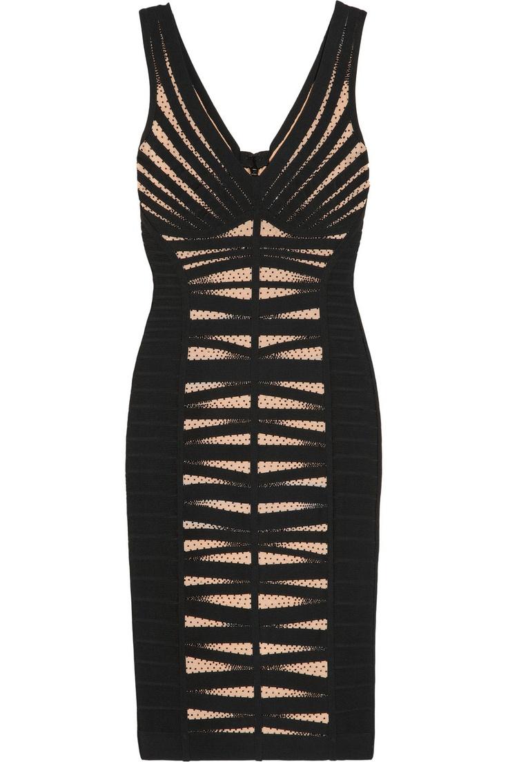 Hervé Léger|Bead-embellished bandage and mesh dress|NET-A-PORTER.COM