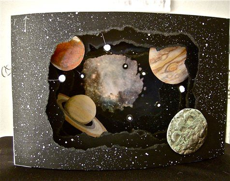 My Tunnel Book Challenge entry draws the eye past the moon and Mars, gives a glimpse of Jupiter and Saturn, and focuses on a dazzling nebula at its core!